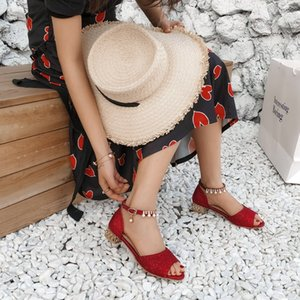 Big Size 11 12 13 high heels sandals women shoes woman summer ladies Fish Mouth Shallow Sequined Fine-heeled Single Shoes