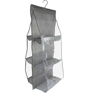 Hanging bolsa dobrável saco de armazenamento Double Side Transparente 6 bolso Sundries Tidy Organizer Bag Roupeiro Prateleira Armário Hanger DBC VT0360