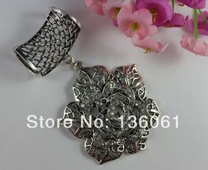 Moda Vintage Gümüş Alaşım Mozaik Rhinestone Gül Çiçek Charms DIY Set Takı Slayt Eşarp Aksesuar Hediyeler
