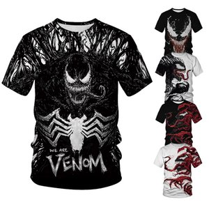 도매 디자이너 티 셔츠 남성 반바지 2019 봄 여름 디지털 인쇄 tshirt 블랙 멋진 3D 독이 힙합 망 streetwear 티