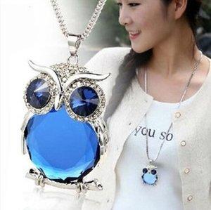 Nouveau style femmes Collier pendentif chouette strass chandail à longue chaîne Colliers Ornements bijoux exquis couple Trinket 5 couleurs