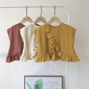 New fashion girls blouse 2020 summer kids falbala back button shirt children cotton short sleeve tops girls clothing A1863