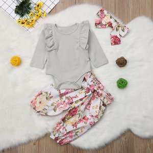 2018 Brand New 0-24M Infant Baby Girl Boy Floral Autumn Clothes Sets Ruffles Long Sleeve Solid Romper Tops+Print Pants+Headband