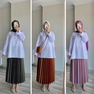Wepbel turco muçulmano Branco Blusas Plus Size manga comprida camisa de gola Mulheres Tops San Blusas soltas Camisas Casual