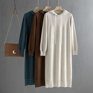 GİGOGOU Ovesized uzun düz Maxi Hoodies elbise Sonbahar Kış kadın Kazak elbise rahat gevşek örgü Midi elbise çekin Vestidos T200416