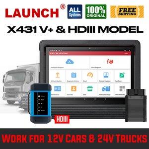 """발사 X431 V + V 플러스 10 """"24V 트럭 PK 발사 431에 대한 HDIII 모델 헤비 듀티와 OBD2 스캐너 OBD 자동차 진단 도구 3 프로"""