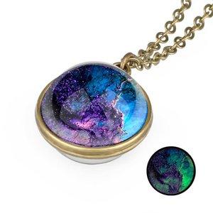 Туманность Ожерелье Glow In The Dark Space Universe Ожерелье Glass Galaxy Солнечная система люминесцентным ожерелье ювелирных изделий MMA3157B