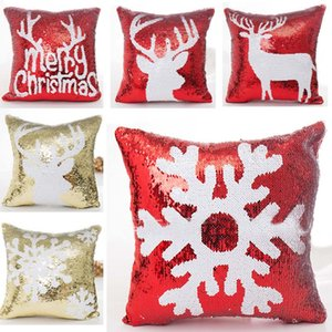 Decoração de Natal Fronha Lantejoula Natal Pillow Case Cover New Snowflake Reindeer Pillowcase Início Sofá carro sem Núcleo XD21530
