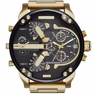 Aço inoxidável Relógio Masculino Mens Watch Sports pulso Rosto Big Quartz Analog Exército Negócios Militar Relógios Presentes Relógio