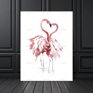 Peinture sur toile affiche Art Print sur aquarelle Flamingo Wall Photos pour la décoration de la maison Impression Giclée Wall Decor no frame