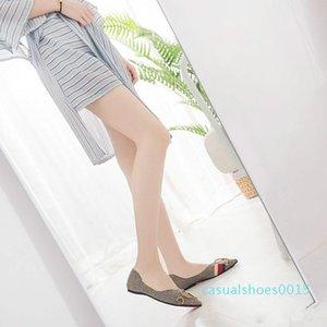 Womens Loafers Travel Prom Flats Designer Women Sandals Slipper Shoes Luxury Metal Buckle Rhinestone Ballet Flats Big Sizes c15