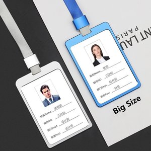 Big Size 100*70MM Aluminum Alloy Office Worker Large ID Card Badge Holder with Neck Lanyard Strap Working Card Name Tag