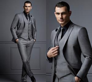 Por encargo de la manera del Mens gris novio del juego del juego de juegos del hombre formal para los hombres Mejor Slim Fit novio esmoquin para el hombre (chaqueta + chaleco + pantalones)