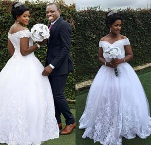 Vintage White Ball robe de mariage avec dentelle Encolure mancherons longueur de plancher Robes de mariée robe de mariée de perles en ligne Custom Made