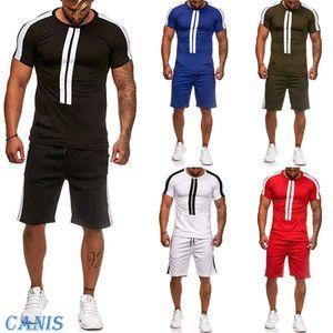 New Men Summer TrackSuit T Shirt Sport Suit Sets Tops+Pants Set Tennis Wear