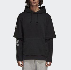 남녀 2,019 후드 Sweatershirt 브랜드 후드 풀오버 착실히 보내다 재킷 거짓 두 조각 힙합 스트리트 고안 긴 소매 스포츠 B100006L