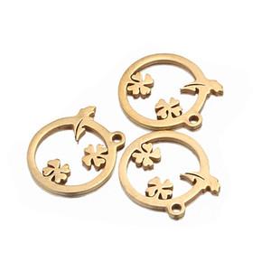 15mm gold silber kreis edelstahl baum blumen charme runde anhänger zubehör für armband diy schmuck machen erkenntnisse großhandel