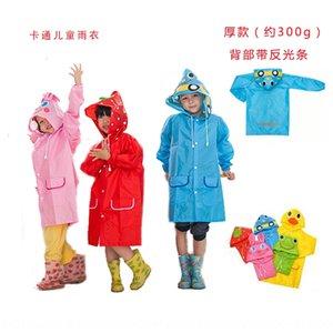 de dibujos animados HAPPYFUN banda reflectante Equipo de lluvia del animal del estilo ropa de lluvia impermeable del poncho de los niños de espesor con banda reflectante