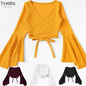 White Top Yellow Crop Top 2020 T Shirt Tank Women Tshirt Femme Bandage Long Sleeve Flutter Sleeve Sexy Casual Camiseta Mujer Tee