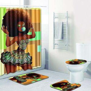 Nuevos juegos de baño alfombra alfombra Cortina de ducha Mujer africana Cubierta del asiento del inodoro Baño alfombra antideslizante y cortina de ducha
