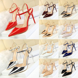 Hot Sale-Designer Pointed Toe 2-Strap with Studs high heels Patent Leather smooth Sandals Women Shoes valentine sexy high heel Shoes