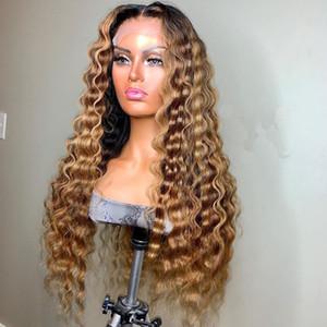 느슨한 웨이브 꿀 금발 옹 브르 컬러는 여성 레미 브라질 보이지 않는 사전 뽑아 전체 레이스 가발을위한 150 % 레이스 프런트가 인간의 머리 가발을 강조