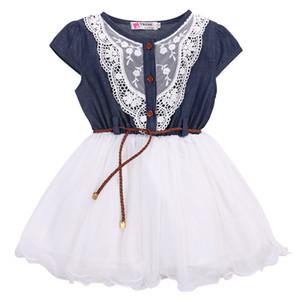 2019 princesa meninas do bebê crianças partido lace dress com cinto de couro denim tops vestidos de tule vestido 1-6y