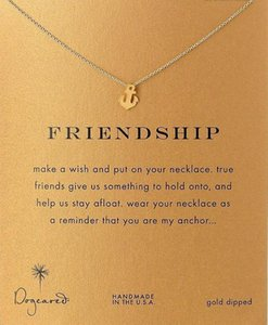 Fashion Dogeared Necklace with Friendship Anchor Pendant, WITH CARD gold color noble and delicate choker necklace , no fade Necklace Jewelry