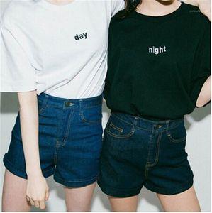 Moda soltos Casais Tees Dia Noite Impresso Womens T-shirts Verão Tops manga curta O Pescoço das senhoras