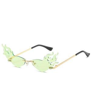 FireWave Sunglasses Ashion fogo Onda Chama Sunglasses Mulheres Homens sem aro óculos de sol óculos de luxo Trending Metal Frame Sunglasses So6fk Que