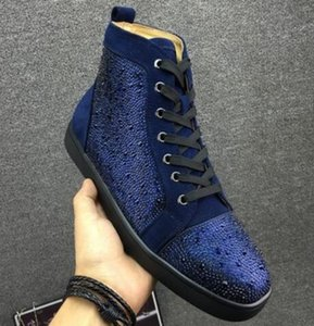 With box 2019 Fashion luxury designer men women Rhinestone High top shoes famous designer brand red bottom Sneakers mens shoes with box