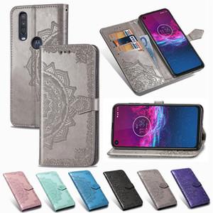 Boîtier de téléphone mobile pour Moto One-Action PU cuir Couverture Concave Convexe Datura fleurs avec le portefeuille de cartes Machines à sous (Modèle: One-Action)