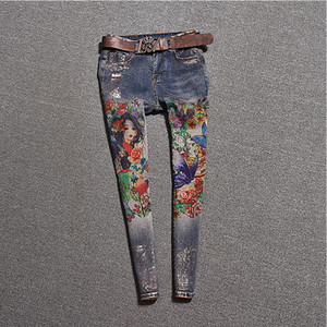 Painted Jeans Femme Plus Size Washed Blue Denim Skinny Jeans Pencil Pants Stretch Bodycon Slim Women Trousers J005a