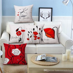 Red Rose Flower Bloom LOVE Heart Cushion Covers Beige Linen Pillow Case 45X45cm Sofa Chair Decoration