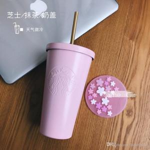 copo de café de verão nova Starbucks Sakura Rosa palha 16 onças Mermaid inoxidável caneca de água fria aço In-car Out porta copo Acompanhando portátil