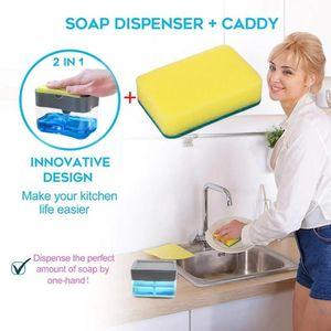 2-in-1Portable Sponge Rack Soap Dispenser Soap Dispenser kitchen sink And Sponge Caddy sink