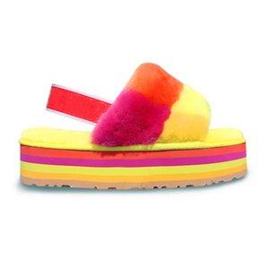 Fashion Luxury Designer Platform Wedges Heels Sandals Slipper Flip Flops Women Mens Furry Slippers Fur Sandale Oh Fluff Yeah Slides Sandal