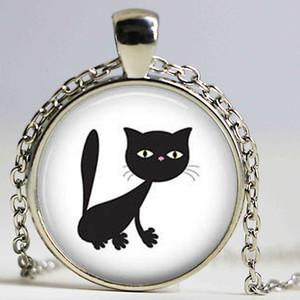 Оптовая художественного стекла кабошон ожерелье Cat Kitten ожерелье Потертый Chic Cat Круглый кулон Девушки из стекла кабошон ожерелье