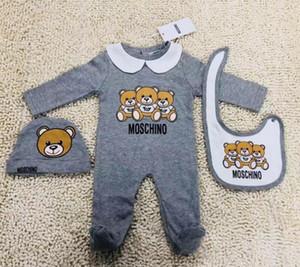 Neueste neugeborene Baby-Kind-Jungen-Mädchen-Kleidung Baby-Overall + hat + bib Body aus 100% Baumwolle Baby-Kleidung Outfits Set