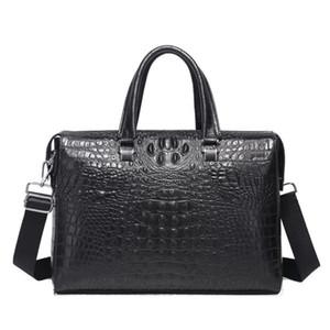 "New Briefcases Real Leather Handbag Zipper Soft Bags Mens Alligator Men Cowhide Business Handle 14"" 15"" Laptop Pattern Lnmas"