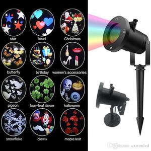 Bahçe Cadılar Bayramı Noel için LED Dekorasyon Lazer Işığı Projektör LED RGB 12 model Değiştirilebilir Döner lamba Projektör Peyzaj Işık