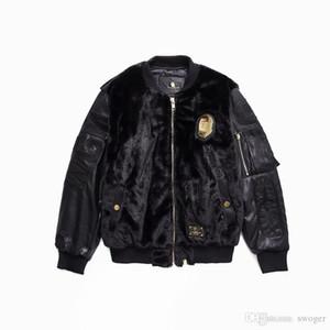 새로운 도착 남성 여성 블랙 골드 봉제 가죽 슬리브 야구 자켓 코트 남성 캐주얼 후드 블랙 느슨한 재킷