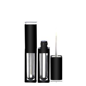 4 ㎖ 광장 클리어 립 글로스 튜브 ABS 립 글레이즈는 립글로스 컨테이너를 25분의 10 / 50PCS 빈 검은 뚜껑을 병