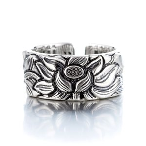 Lotus Heart Sutra Stamping Sterling Solid Couple Love Rings CX200608
