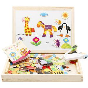 Puzzle magnetico Consiglio dei bambini dei bambini Farm Animal Jigsaw Jungle legno scrittura Giocattoli educativi Disegno Cavalletto Boards LXL630-1