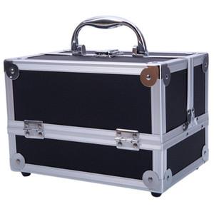 Scatola portaoggetti professionale grande per treno per trucco - Trucco cosmetico con portachiavi con lucchetto e divisori regolabili per Stu