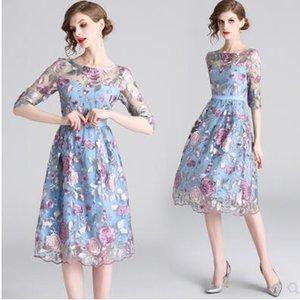 2020 Новый дизайн женщин о-образным вырезом половины рукав марля вышивка цветы милый сладкий стиль принцессы высокой талии миди длинные платья vestidos