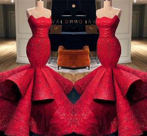 Romantico Red Mermaid Sweetheart Satin abiti da sera formale 2019 New Lace Paillettes lunghi abiti da ballo Pageant abiti BC0888