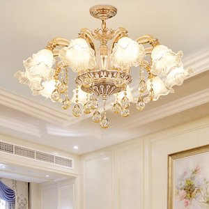 New style European 10-Light D 90cm X H 60cm zinc alloy crystal chandelier led hanging lamps for living room bedroom dining room