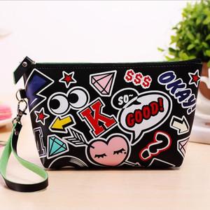 Designer desenhos animados Modern Girl Makeup Bags Lady Lip Cosmetic Bag Bolsa de embreagem bolsa pendurada de jóias Bolsa Casual Feminino